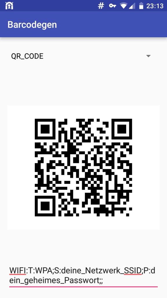Screenshot von Barcodegen mit den Einstellungen zum Erstellen eines QR-Codes für WLAN-Zugang